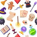 Magic fantasy tools set collection vector illustration seamless pattern. Mystery fairytale circus illusion carnival