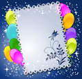 Magic floral background with balloons Stock Photo