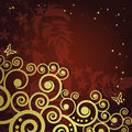 Magic floral background with golden curles. Royalty Free Stock Image