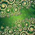 Magic floral background with golden curles. Stock Photo