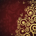 Magic floral background with golden curles Royalty Free Stock Photo