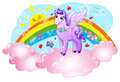Magic flying horse cute pegasus in the sky with sun and rainbow illustration for little children Stock Photo