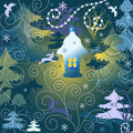 Magic forest. Christmas background Royalty Free Stock Images