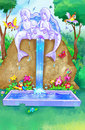 Fairytale water fountain in the forest Royalty Free Stock Photo