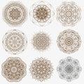 Magic geometry signs collection. Set of ornate mandala symbols. The circular pattern.
