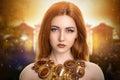 Magic Girl Energy Sunset Royalty Free Stock Photo