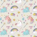 Magic hand drawn pattern - unicorn and fairy