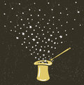 Magic Hat Background with stars dust and magic wand. Royalty Free Stock Photo