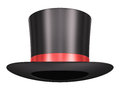Magic hat black silk with red ribbon isolated on white background Royalty Free Stock Image