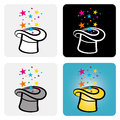 Magic hat cylinder a color vector set of a tophat with stars popping out of it Royalty Free Stock Photography