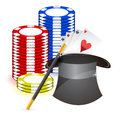 Magic hat , magic wand and casino props Stock Images