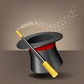 Magic hat and wand with sparkles vector illustration Royalty Free Stock Photo
