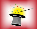Magic Hat And Wand With Stars Royalty Free Stock Photo