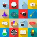 Magic icons set, flat style Royalty Free Stock Photo