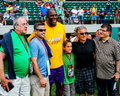 Magic johnson poses with fans lakers legend takes a moment to pose before a charity softball game Royalty Free Stock Photo