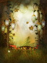 Magic lamps in the fairytale wood fantasy artwork Royalty Free Stock Image