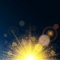 Magic lights on a blue background transparent. Solar glow, lens effect, the solar flare. Bright design. Vector illustration Royalty Free Stock Photo