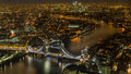 Magic London at Night from the bird view Royalty Free Stock Photo
