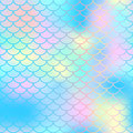 Magic mermaid tail background. Colorful seamless pattern with fish scale net. Blue pink mermaid skin surface.