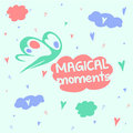 Magic moments good mood head in the clouds magical flying fairy muse among inspiration and creativity vector illustration Stock Image