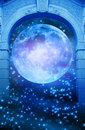 Magic moon gate a gothic with and starry space Royalty Free Stock Images