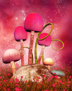 Magic mushrooms on a pink background Stock Images