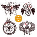 Magic Occult Tattoo Set Royalty Free Stock Photo