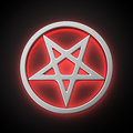 Magic pentacle with red backlight effect on the black background Royalty Free Stock Image