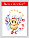 Magic pig santa, funny pig with magic wand and hearts, separate on transparent background, holidays illustration, winter, cartoon