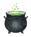 Magic Pot with Witch Poison. Watercolor illustration