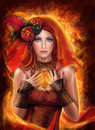 Magic Fantasy woman red fairy fiery fire
