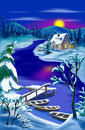 Magic River Landscape at Moon  Christmas Night Royalty Free Stock Photo