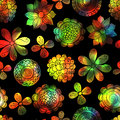 Magic seamless floral background with bright flowers. Royalty Free Stock Photo