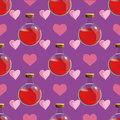 Magic seamless pattern with love potion in a bottle - vector illustration Royalty Free Stock Photo