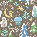 Magic Xmas seamless pattern with winter landscape, snowy firs and trees, little angels, house, crescent and Christmas star