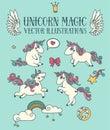 Magic set of cute doodle unicorns