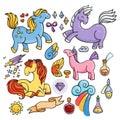 Magic set of unicorns, wings and potions.