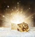 Magic shining of christmas gift Royalty Free Stock Photo