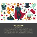 Magic show poster of magician man and trick equipment vector flat icons Royalty Free Stock Photo