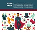 Circus magic show and magician vector poster Royalty Free Stock Photo
