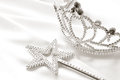 Magic silver Wand with diadem on the white Royalty Free Stock Photo