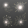 Magic spark effects, burning bengal lights, sparkler fire vector set Royalty Free Stock Photo