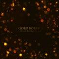 Magic sparkle, gold dots on dark background Royalty Free Stock Photo