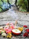 Magic spiral works next to a lake, wicca altar. Pagan religion. Royalty Free Stock Photo