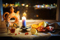 Magic Still Life With Candle Light Royalty Free Stock Photo