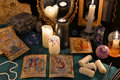 Magic still life with crystals, the Tarot cards and candles by the mirrow Royalty Free Stock Photo