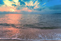 Magic sunrise over sea before with cloudy sky Royalty Free Stock Photo