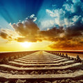 Magic sunset over railroad to horizon Stock Images