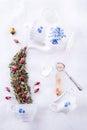 Magic tea party with roses herbal tea