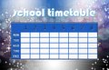 Magic timetable school template with blue bokeh abstract background Stock Photography